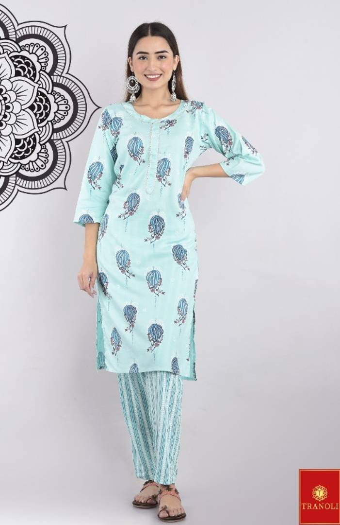 Tranoli Stylish Work Wear Printed Kurta With Pant