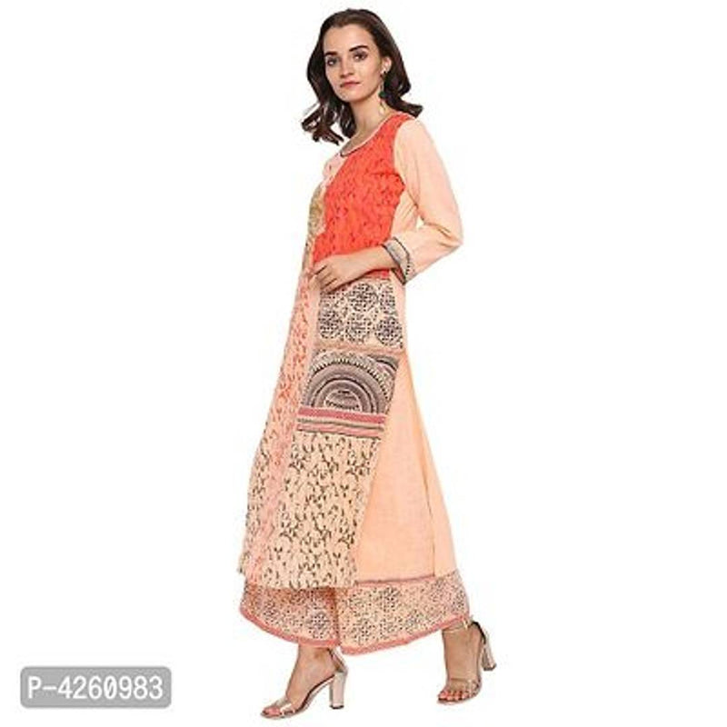 Stylish Peach Cotton Slub Kurta And Palazzo Set For Women