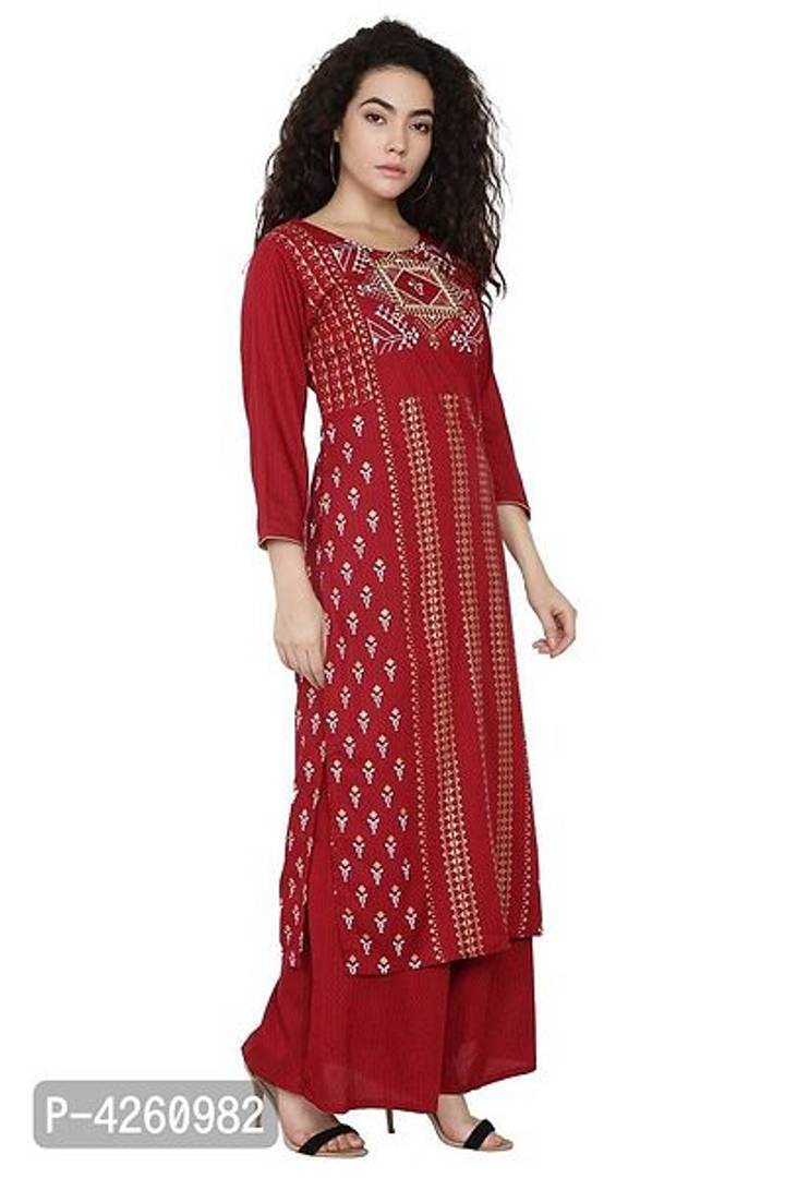 Stylish Maroon Rayon Kurta And Palazzo Set For Women