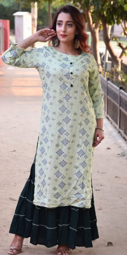 Women's Beautiful Printed Rayon Kurta with Bottom Set