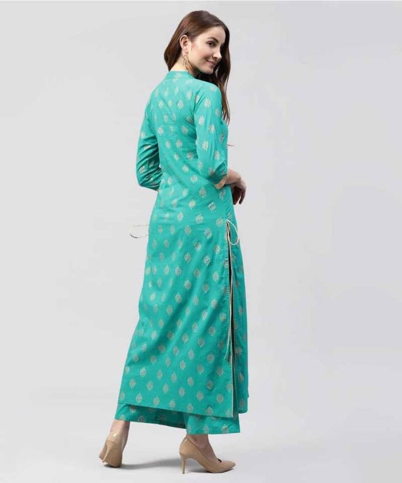 Classy Green Cotton Rayon Printed Kurta And Palazzo Set For Women