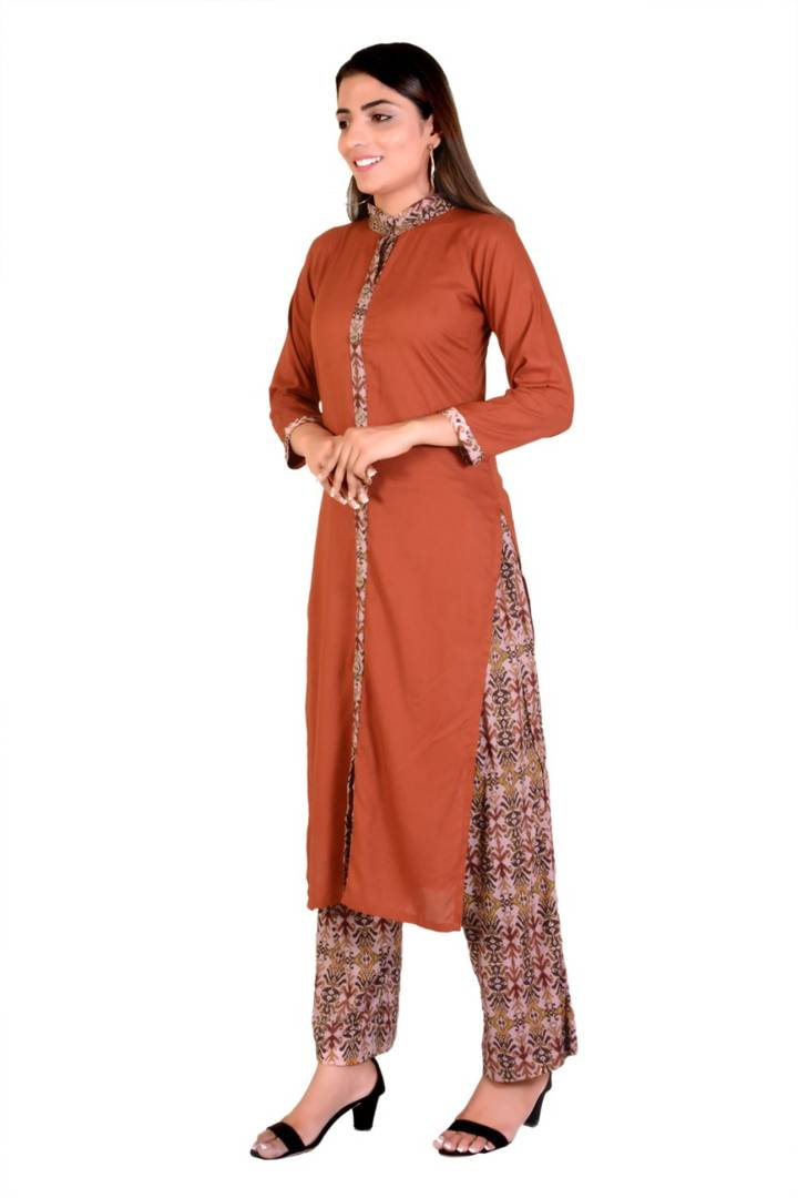 Classy Brown Cotton Rayon Solid Kurta And Palazzo Set For Women