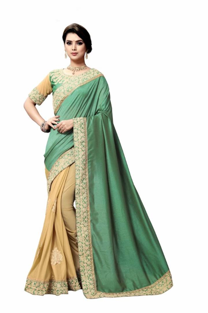 Stylish Vichitra Silk with Lycra Dori Embroidered Saree With Blouse Piece