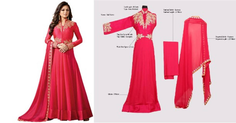 New Georgette Embroidered Anarkali Gown For Women  (Semi Stitched)