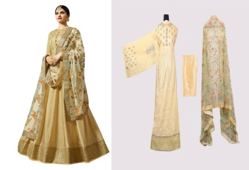 Womens New Style Beige Silk Party Wear Long Anarkali Gown With Dupatta  (Semi Stitched)