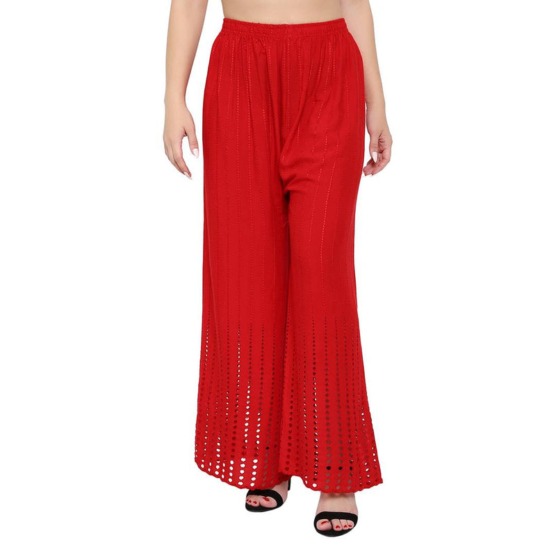 Women's Embroidered Red Rayon Palazzo
