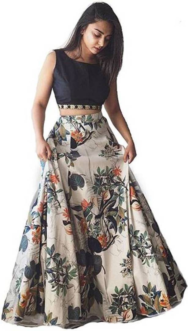 Women's Printed Green Satin Lehenga Choli