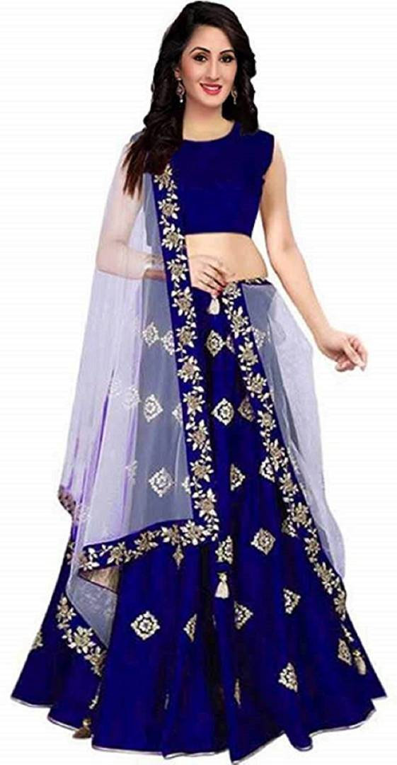 Women's Embroidered Blue Taffeta Silk Lehenga Choli With Dupatta