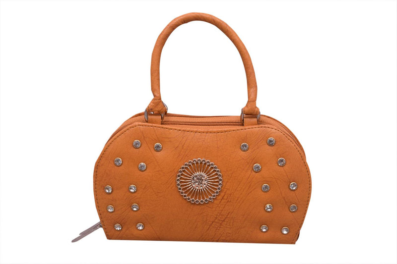 Stylish Rexine Self Pattern Brown Stone Work Clutch Hand Bag For Women