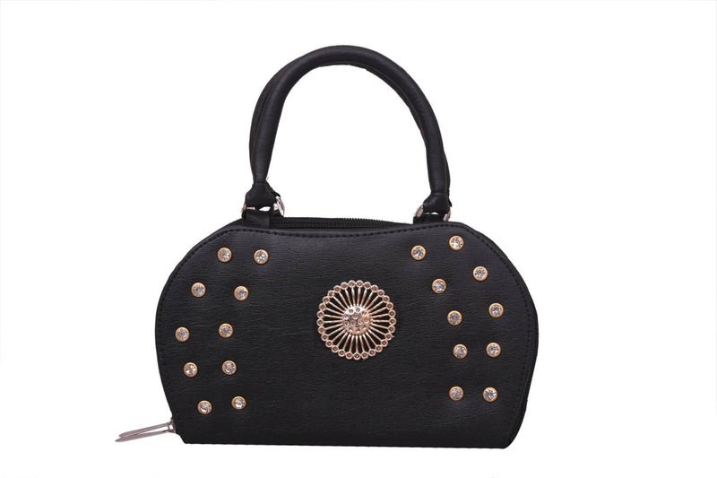 Stylish Rexine Self Pattern Black Stone Work Clutch Hand Bag For Women