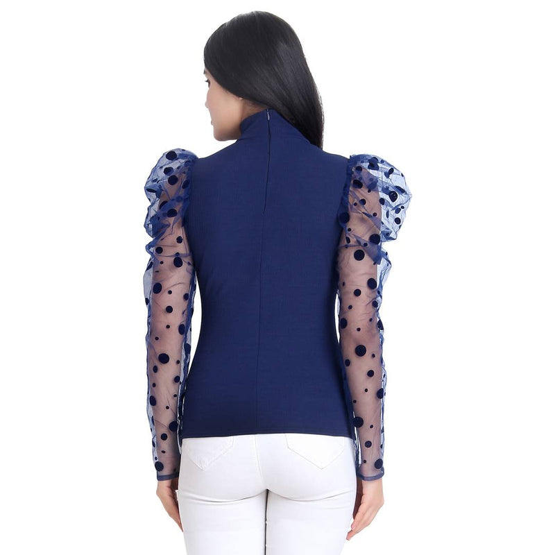 Navy Blue Carrera Polka Dot Net Top For Women
