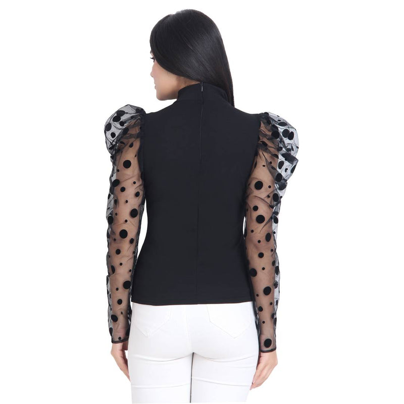 Black Carrera Polka Dot Net Top For Women