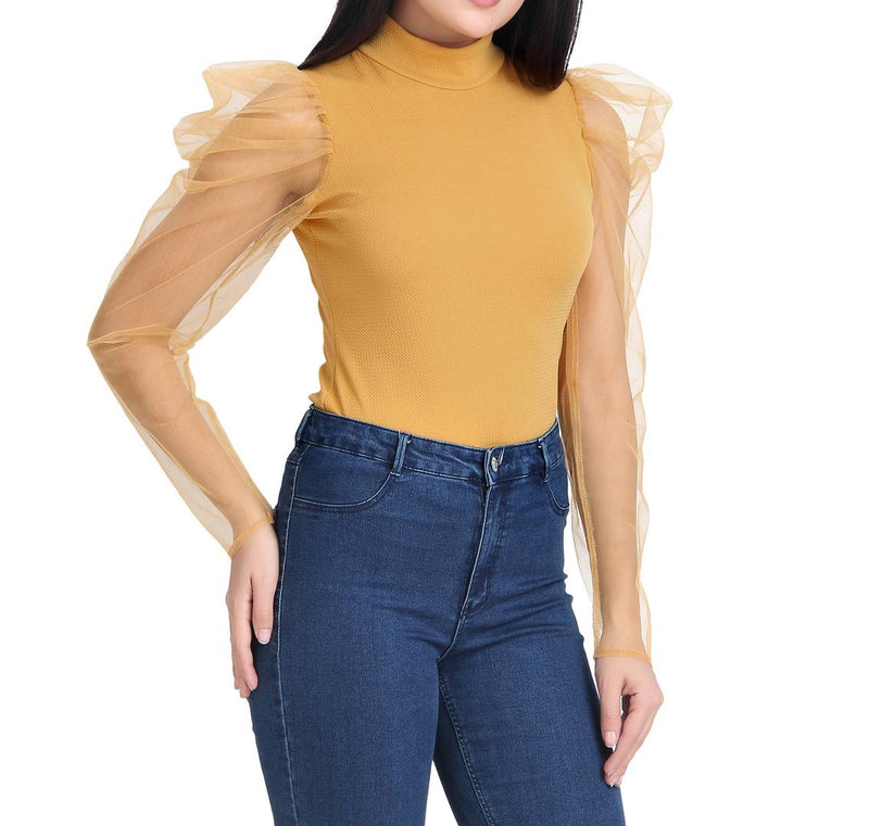 Yellow Carrera Plain Net Top For Women