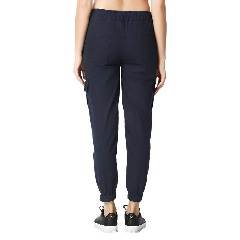 Skinny Navy Blue Side Pocket Twil Pencil Jogger Jeans For Women