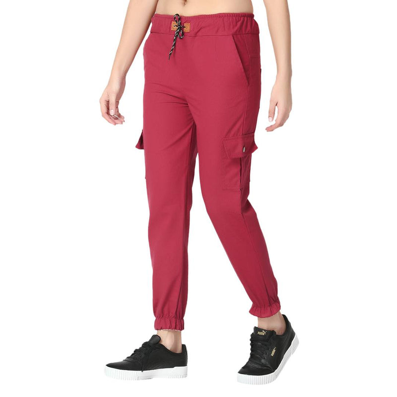 Skinny Maroon Side Pocket Twil Pencil Jogger Jeans For Women