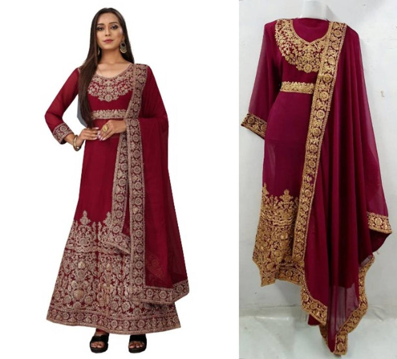 Stylish Georgette Embroidered Gown With Bottom And Dupatta Set