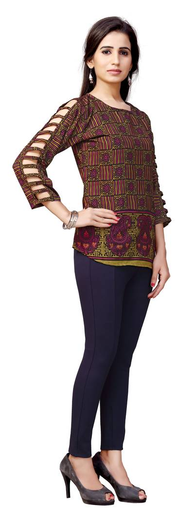 Daily wear Regular Fit Printed Rayon stitched Top for women