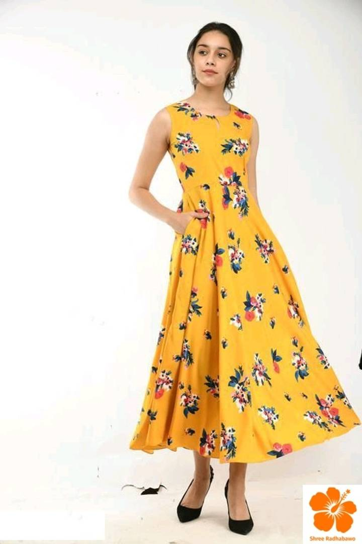 Stylish Yellow Floral Printed Casual Crepe Dress For Women