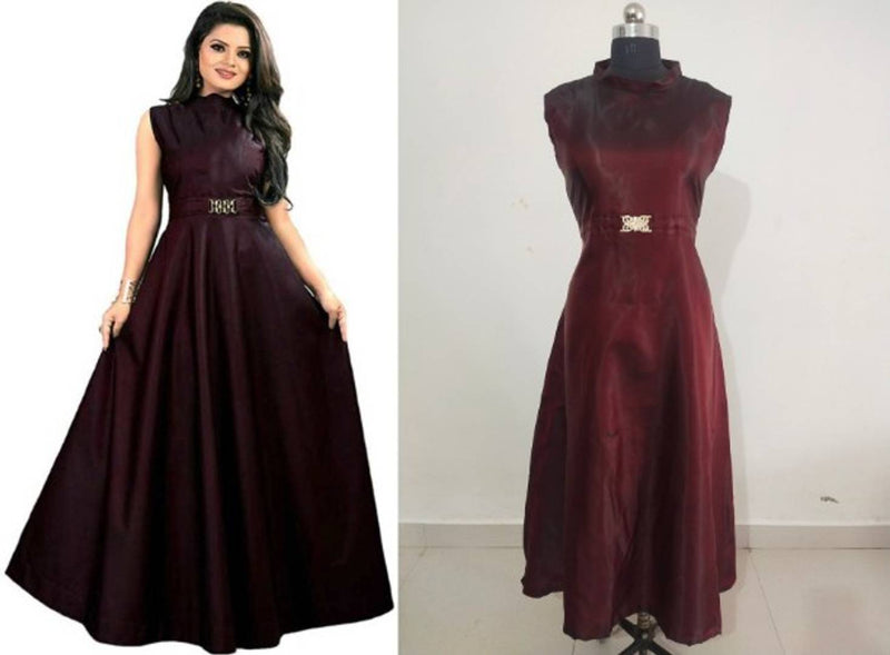 Trendy Taffeta Silk Solid Ethnic Gown For Women