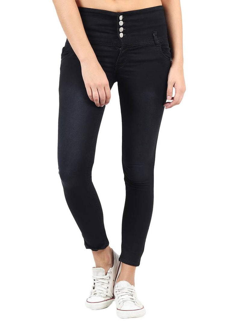 Women's Black Denim High-Rise Jeans