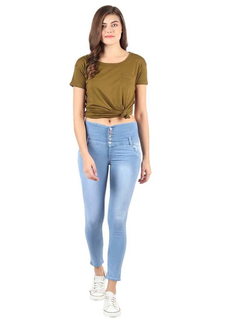 Women's Blue Denim High-Rise Jeans