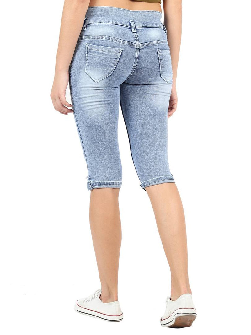 Women's Blue Denim Mid-Rise Jeans