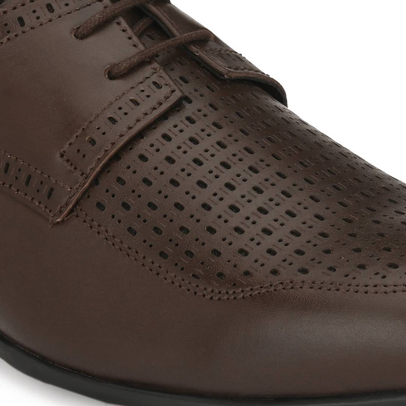 Men's Stylish and Trendy Tan Solid Leather Casual Derbys Shoes