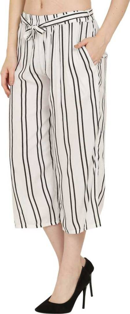 Stylish Rayon White Striped Capri For Women