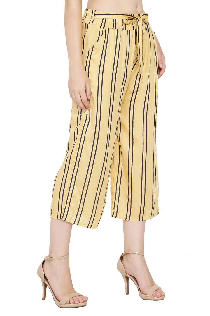 Stylish Rayon Yellow Striped Capri For Women
