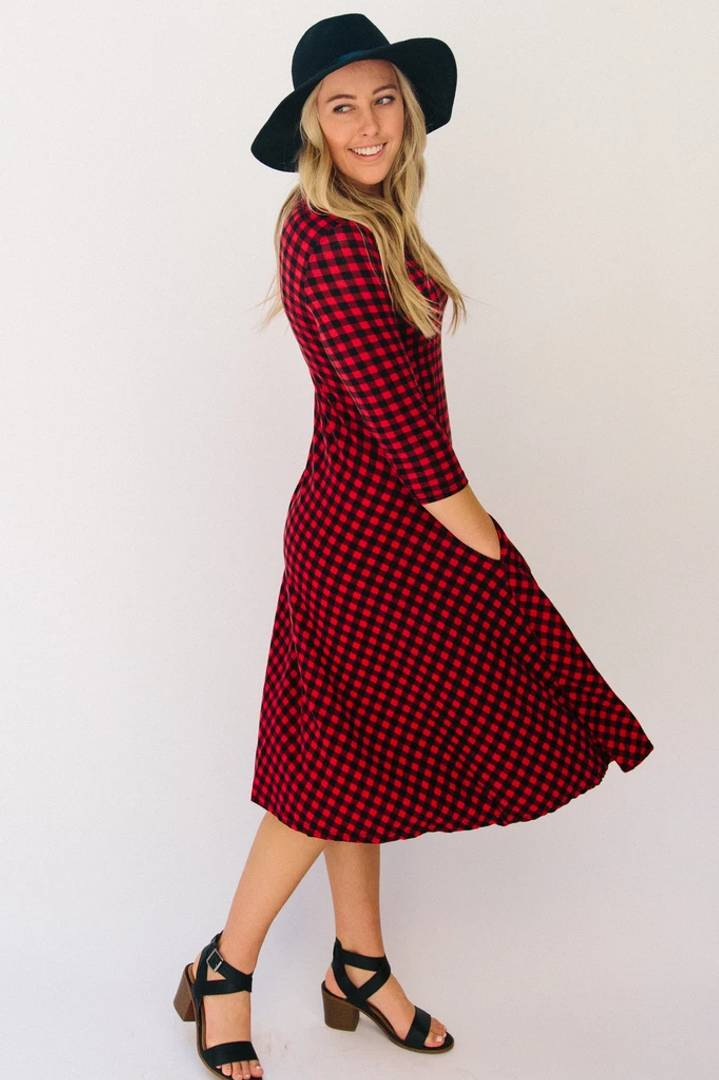 Stylish Cotton Red Full Sleves Checked Drees For Women