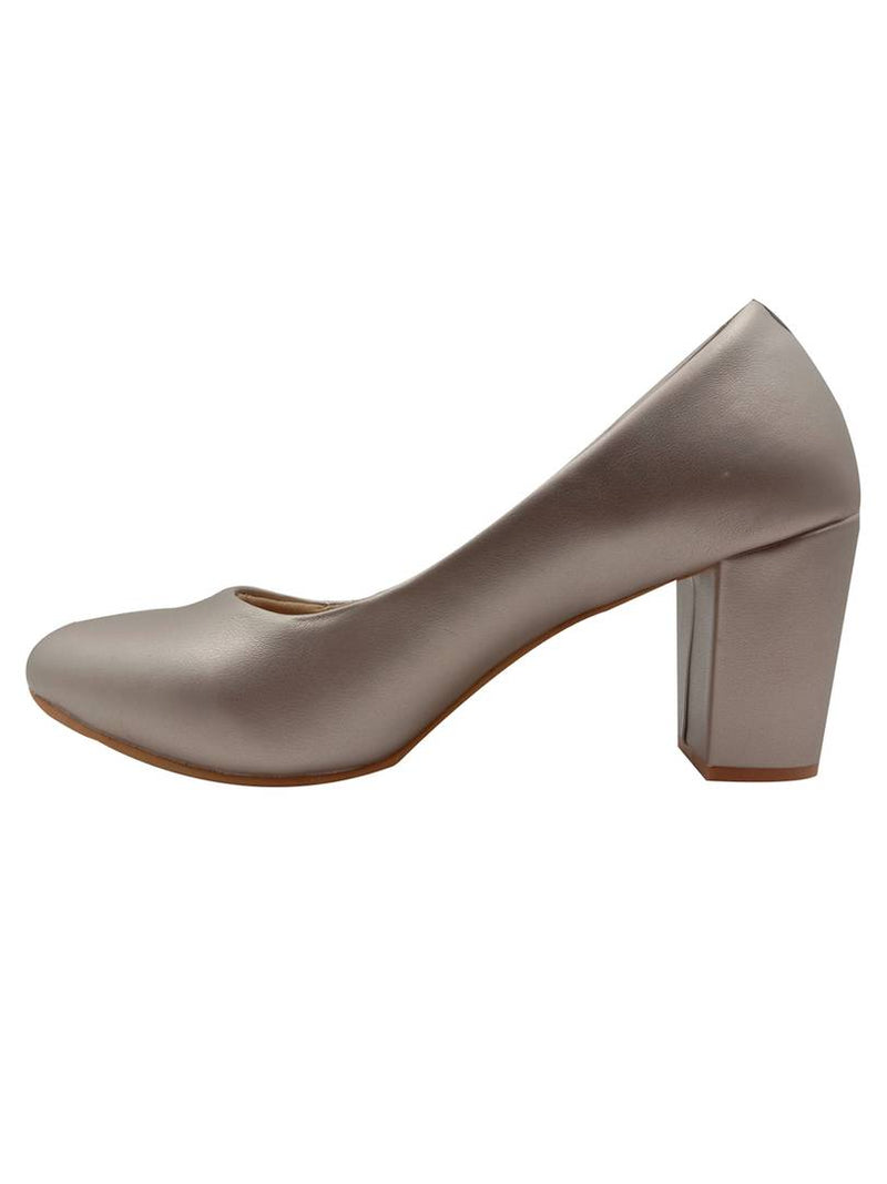 Elegant Synthetic Sliver Close Toes Bellies Block Heels (3 Inch)