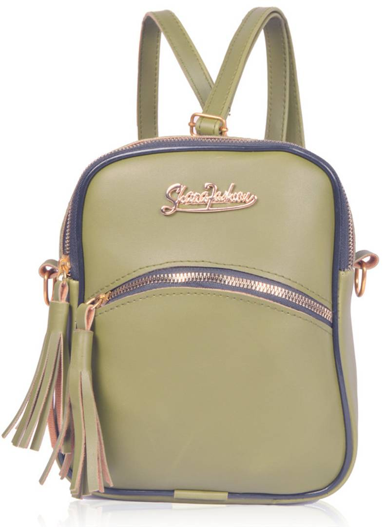 Elegant Green PU Leather Solid Mini Backpack For Women