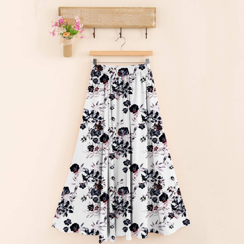 Stylish 14kg Rayon White Floral Print Skirt For Women