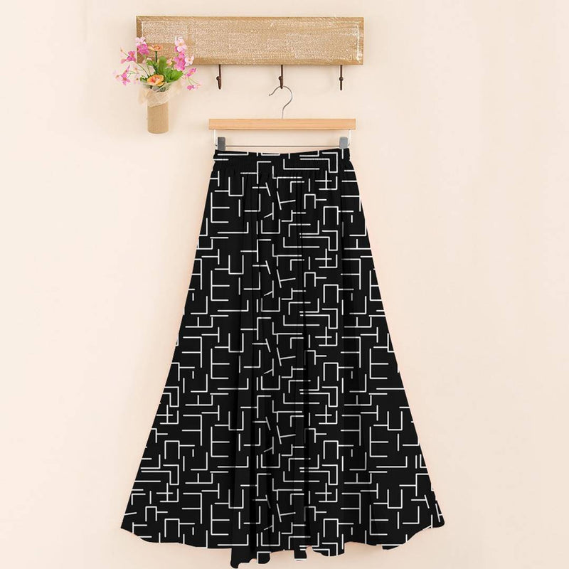 Stylish 14kg Rayon Black Printed Skirt For Women