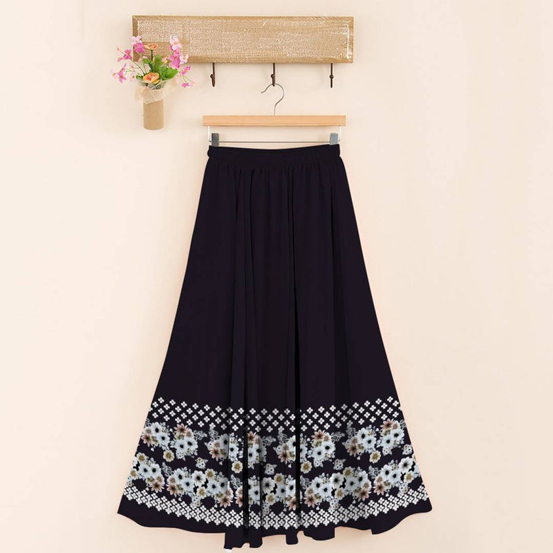 Stylish 14kg Rayon Black Floral Print Skirt For Women