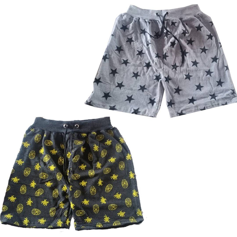 Men's Multicoloured Cotton Blend Printed Regular Shorts Pack of 2