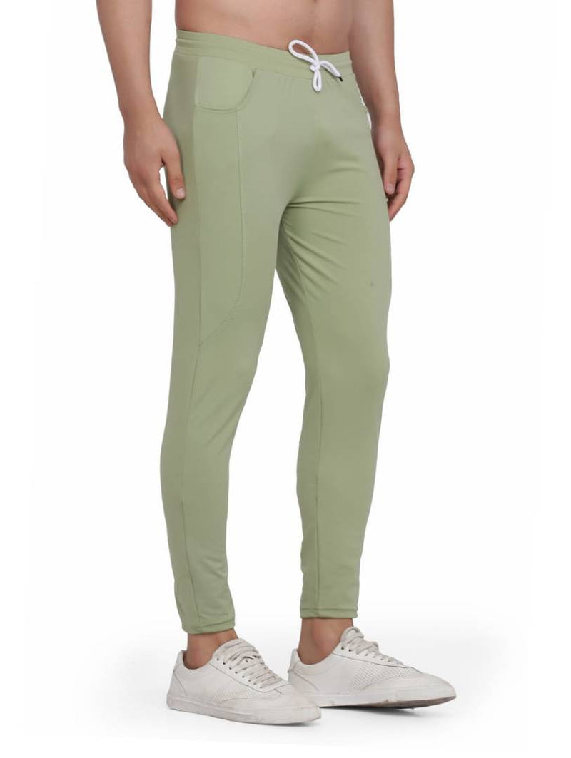Men's Green Cotton Solid Regular Fit Lower Trousers