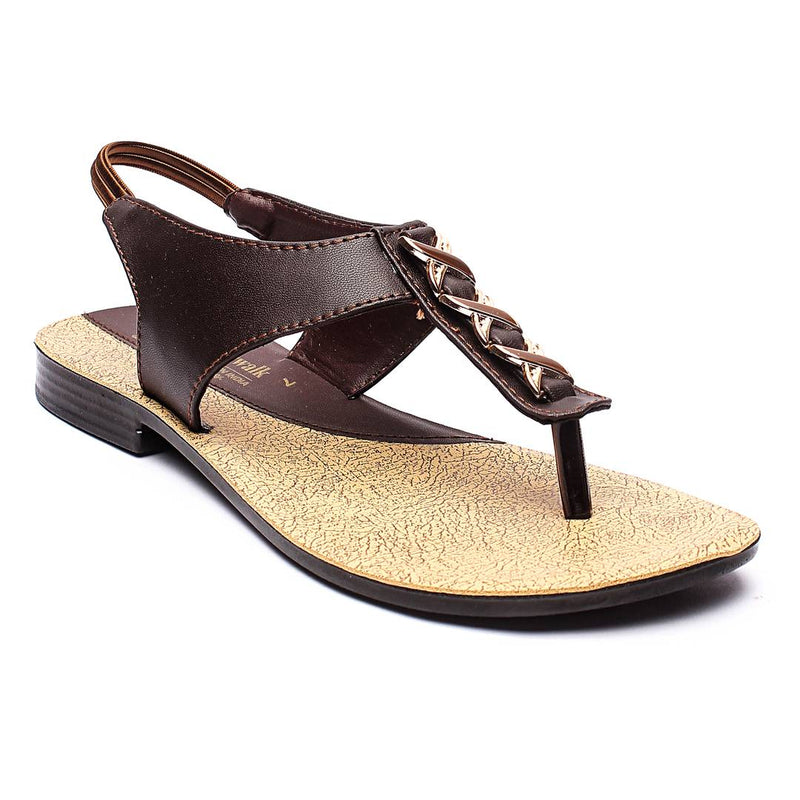 Female Brown Synthetic Solid Sandals