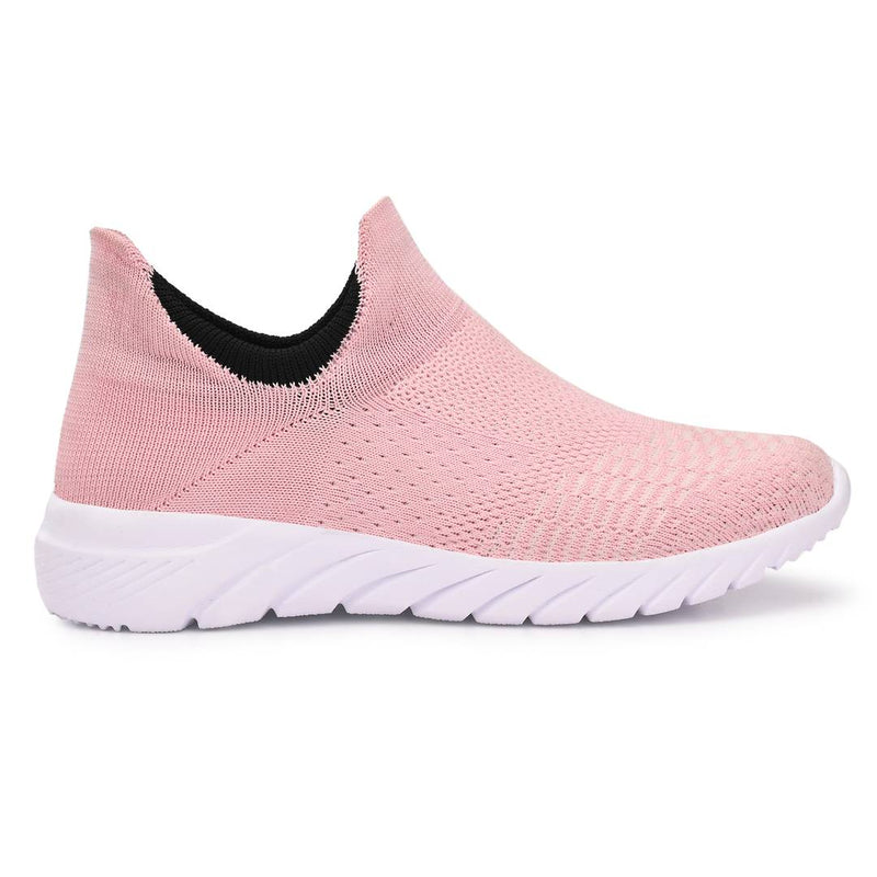 Women's Stylish and Trendy Pink Solid Knitted Fabric Casual Sports Shoes