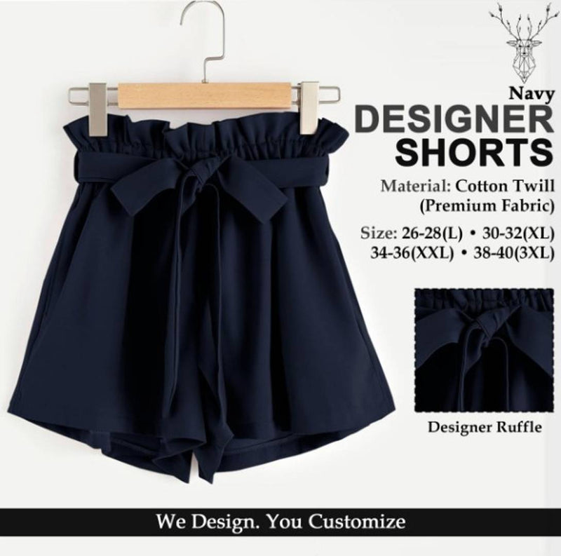 Stylish Cotton Solid Ruffle Design Shorts For Women