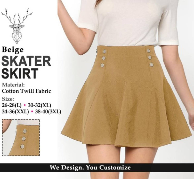 Stylish Cotton Twill Front Metal Button Design Mini Skirt For Women