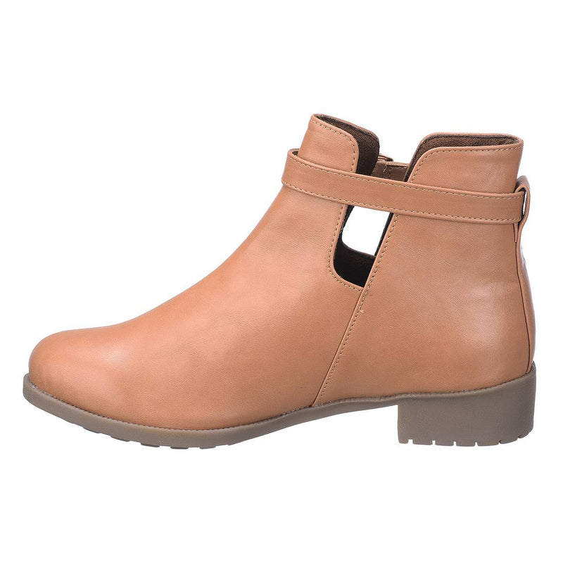 Stylish PU Tan Ankle Length Heeled Boot For Women