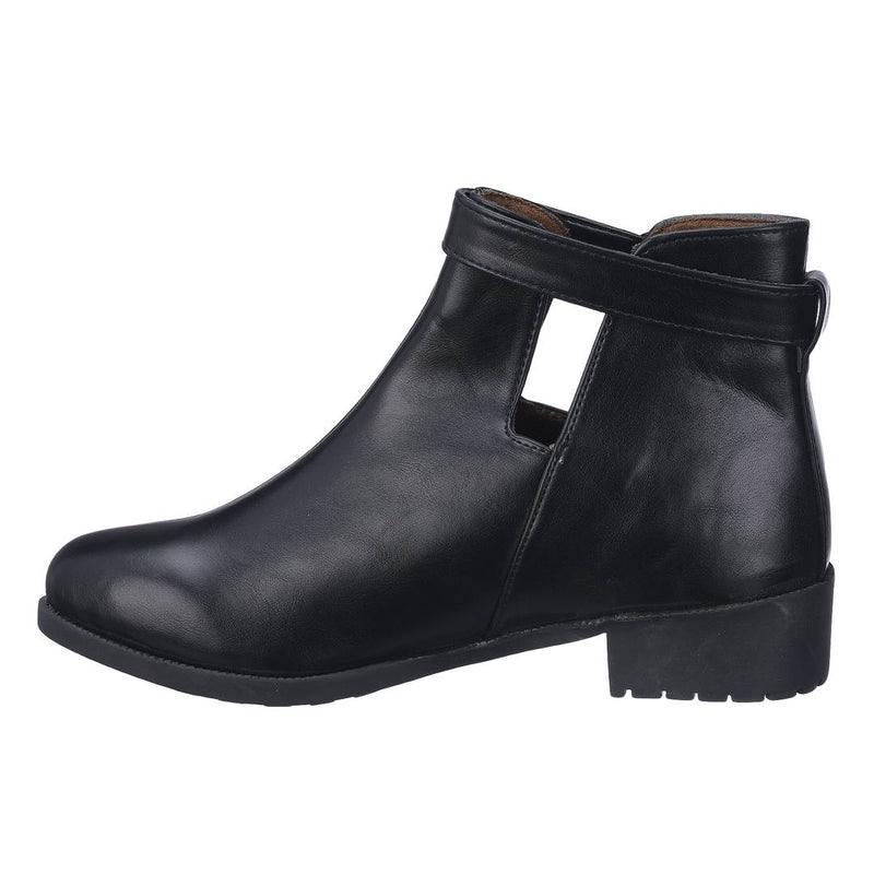 Stylish PU Black Ankle Length Heeled Boot For Women