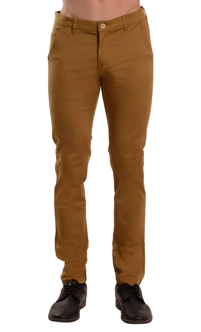 Brown Solid Slim Fit Casual Stretchable Men's Trouser