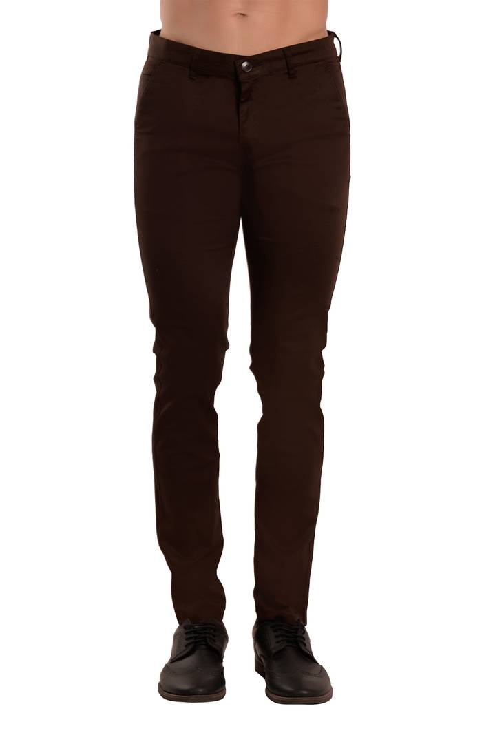 Dark Brown Solid Slim Fit Casual Stretchable Men's Trouser