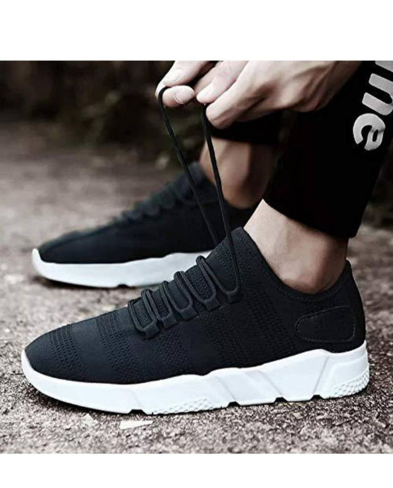 Stylish Black Fabric Self Design Sneakers For Men