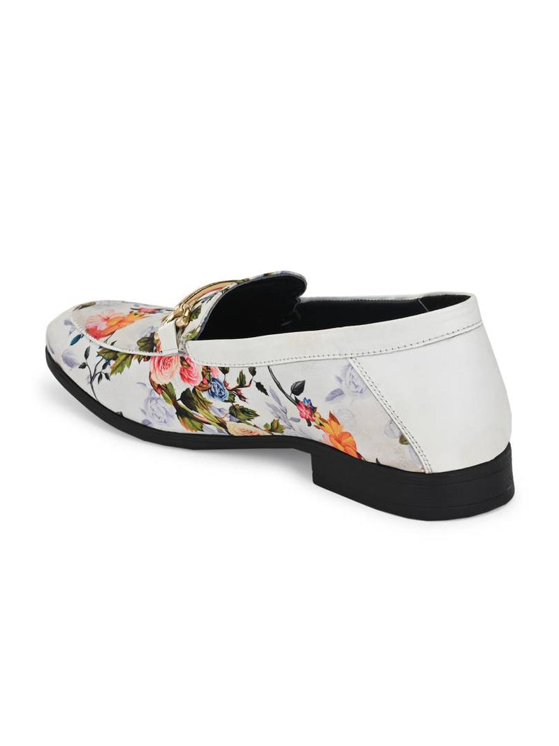 Men's Stylish and Trendy White Printed Nubuck Ethnic Loafers