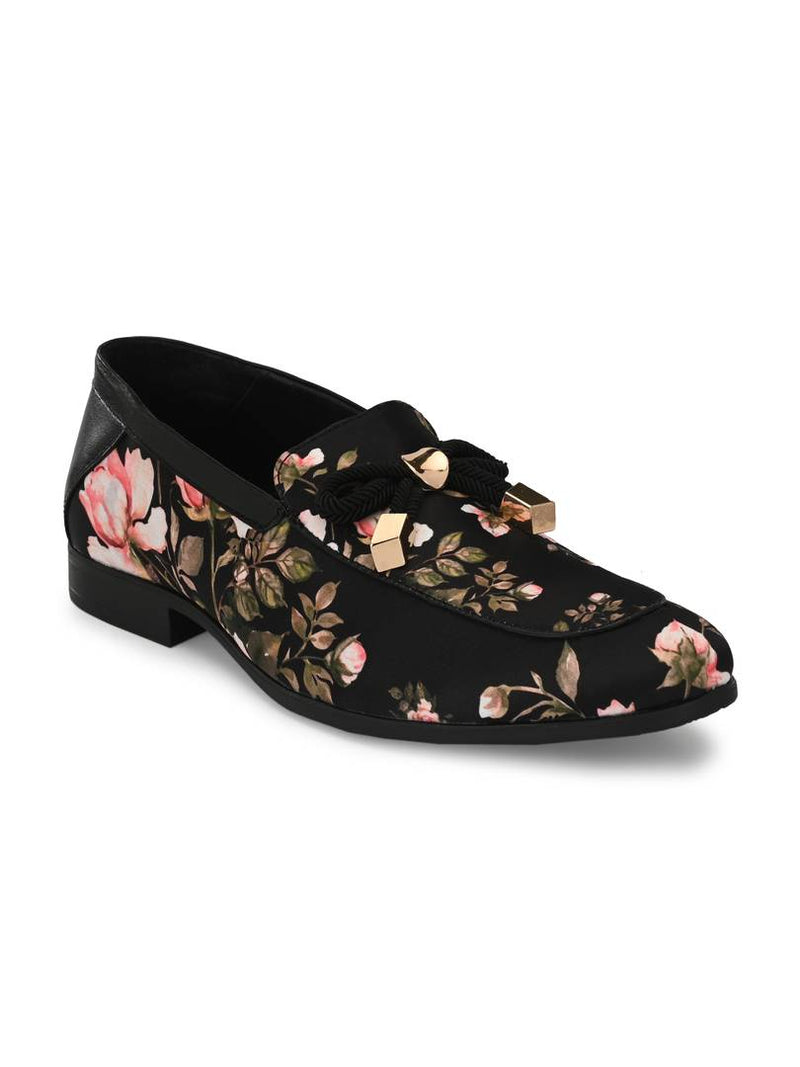 Men's Stylish and Trendy Black Printed Nubuck Ethnic Loafers