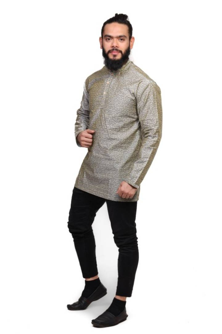 Cotton Blend Short Hand Printed Kurta For Men