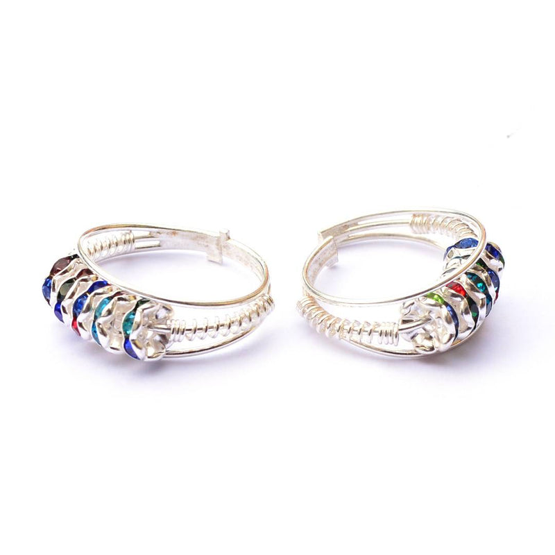 Women's Multicoloured Silver Plated Toe Ring